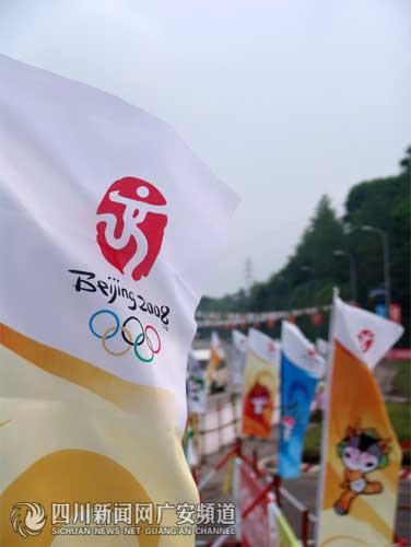 火炬传递沿线飘荡的旗帜 广安频道记者易友波摄