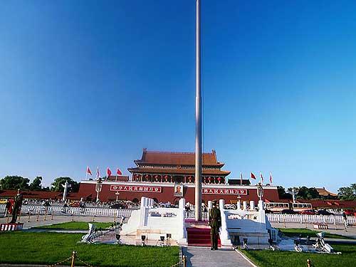 北京火炬传递景观:天安门(图)