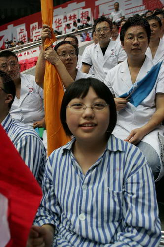 灾区住院康复儿童的笑脸