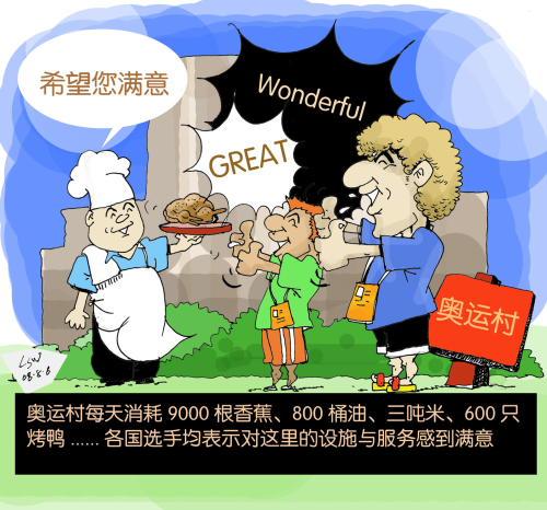 刘守卫奥运漫画:各国运动员满意奥运村 dpp3321