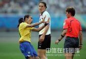 图文:奥运女足德国0-0巴西 玛塔表示不满