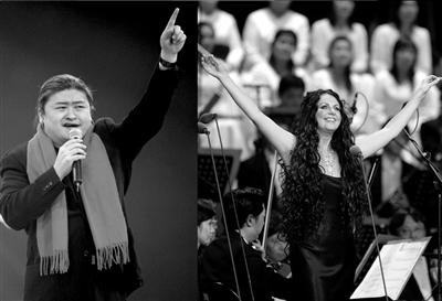 刘欢(左图)、莎拉·布莱曼(右图)在倾情演唱。 新华社发