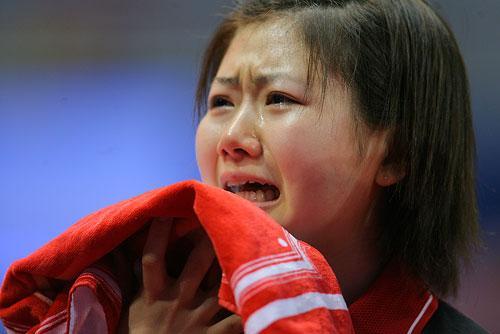 2008年2月的广州世乒赛上,福原爱的喜极而泣的眼泪