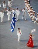 图文:北京奥运会运动员入场式 希腊奥运团入场