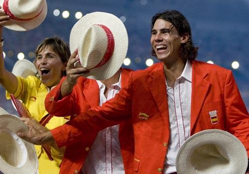 图文:奥运会入场式 西班牙网球手纳达尔