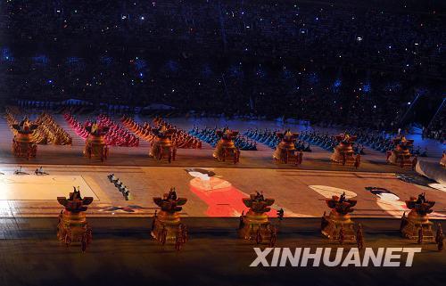 8月8日,第29届夏季奥林匹克运动会在国家体育场隆重开幕。这是开幕式上的表演。新华社记者杨磊摄