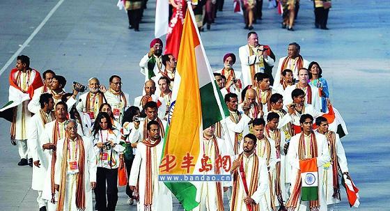 印度代表团着民族盛装入场