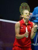 图文:羽毛球女单首轮 庆祝晋级