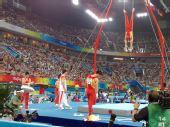 图文:中国男子团体资格赛 中国队吊环练习