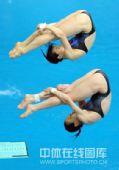 图文:女子双人三米板郭/吴卫冕 空中转身