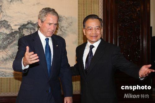 8月10日,中国国务院总理温家宝在北京中南海会见美国总统布什一行。 中新社发 廖文静 摄