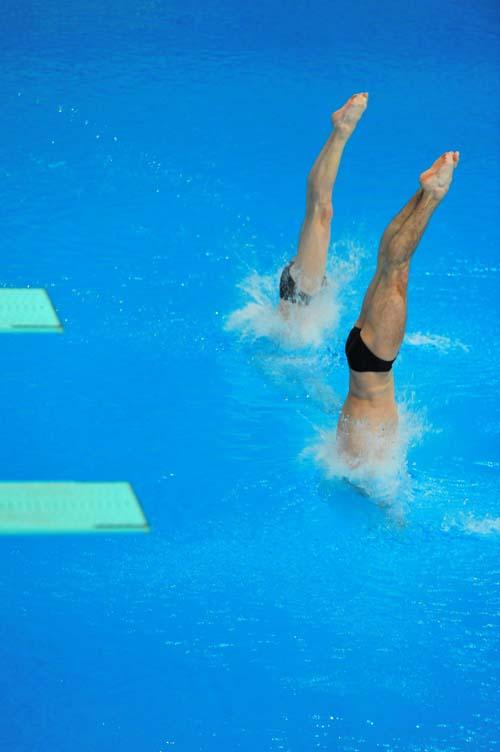 图文:男子双人十米台  双腿笔直