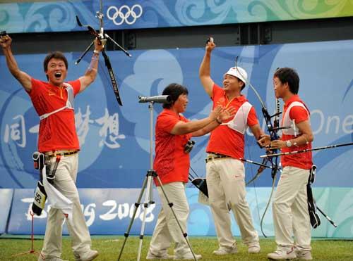 图文:中国射箭男队斩获铜牌 历史性突破