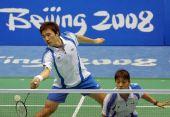 图文:羽球混双首轮比赛 韩国组合在比赛中