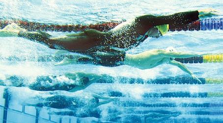 穿着鲨鱼皮泳衣的选手在水立方频频创造佳绩