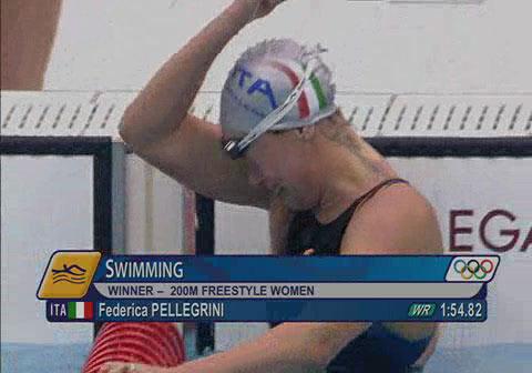 图文:[夺金时刻]佩莱格里尼200米自由泳夺冠