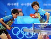 图文:女乒团体赛中国轻取克罗地亚 张怡宁接球