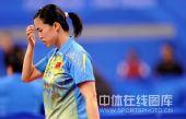 图文:女乒团体赛中国轻取克罗地亚 王楠深思
