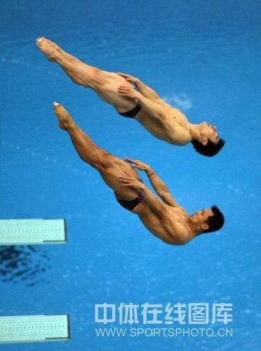 图文:男子双人三米板决赛中国冲金  起跳翻转