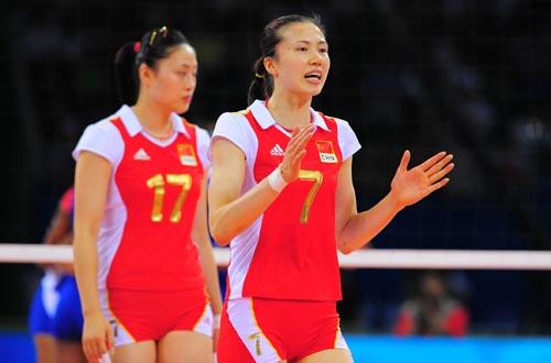 图文:中国女排VS古巴 周苏红庆祝得分