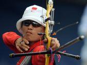 图文:射箭女子个人赛 这个弓箭手比较酷