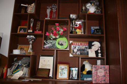 书柜上摆满证书和奖杯
