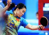 图文:[女团]中国队全胜晋级半决赛 王楠进攻