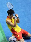 图文:羽毛球男单林丹晋级四强  庆祝胜利