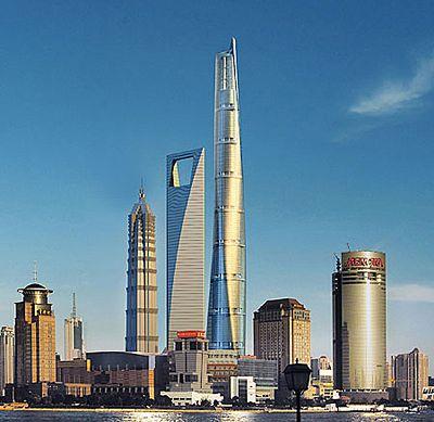 上海中心大厦效果图,为图中最高的建筑