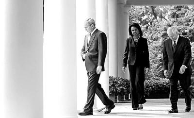 美国总统布什、国务卿赖斯和国防部长盖茨准备出席新闻发布会