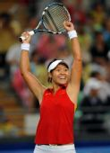 图文:网球女单四分之一决赛 李娜获胜后庆祝
