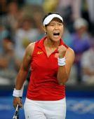 图文:网球女单四分之一决赛 李娜大声呐喊助威