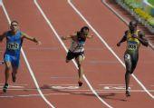 图文:男子100米预赛 冲线瞬间