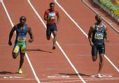 图文:男子100米预赛 泰森・盖伊冲线