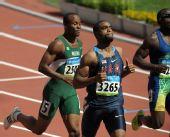 图文:男子100米预赛 泰森・盖伊结束比赛