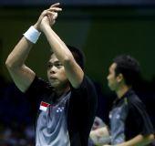 图文:印尼男双组合晋级决赛 基多鼓掌庆祝