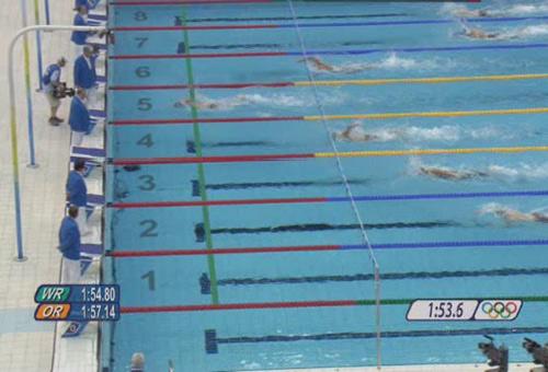 组图:男子200米混合泳 菲尔普斯再破世界纪录