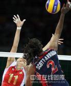 图文:女排预赛A组中国迎战美国 双方网上争夺