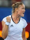 图文:网球女单萨芬娜战胜扬科维奇 看我狮子吼