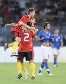 图文:意大利2-3比利时队 比利时球员庆祝胜利