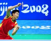 图文:男单陈金摘铜牌 中国选手陈金在比赛中