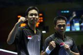 图文:男子羽球双打印尼夺冠 两名大将很齐心
