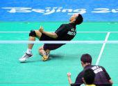 图文:男子羽球双打印尼夺冠 球员在大声怒吼