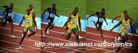 """新华社照片,北京,2008年8月16日 田径——尤塞恩·博尔特百米冲刺连续瞬间 8月16日,牙买加选手尤塞恩·博尔特在国家体育场""""鸟巢""""进行的北京奥运会男子100米决赛中以9秒69的成绩夺得金牌并打破9秒72的世界纪录。 这张拼版照片显示的是尤塞恩·博尔特冲刺的连续瞬间。 新华社记者姚大伟/摄"""