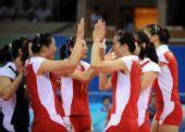 图文:中国女排3-0日本 庆祝得分