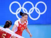图文:中国女排3-0日本 赵蕊蕊庆祝得分