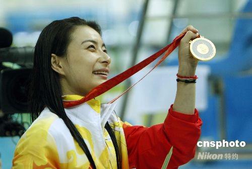 中国选手郭晶晶在北京奥运会女子3米板决赛中获得金牌
