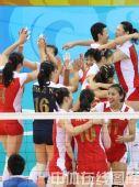 图文:女排1/4决赛中国完胜俄罗斯 一片欢腾