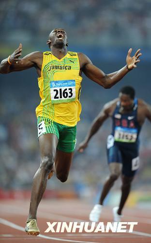 8月20日,牙买加选手博尔特在比赛后庆祝。当日,博尔特在北京奥运会男子200米决赛中夺得冠军并打破世界纪录。博尔特在8月16日举行的男子100米决赛中夺得金牌。新华社记者郭大岳摄