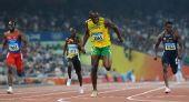 图文:博尔特再夺男子200米金牌 获胜后的狂喜